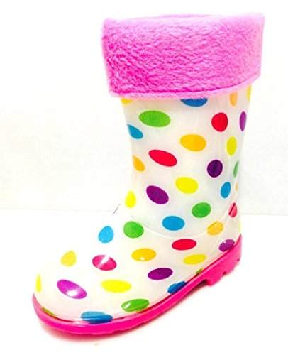 Product image of Toddler & Little Girls Youth White Polka Dot Rain Snow Boots w/Great Lining, Comfortable (11)