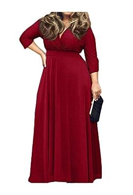 Haogo Women's Deep V-Neck Plus Size Evening Party Maxi Dress