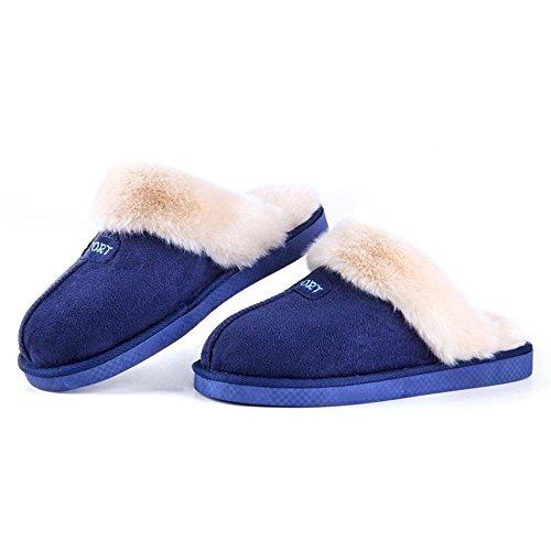Chaud Chaussons Maison Slip Confortable d'intérieur Coton Femmes on Lavable 005 Chaussons De Hiver Coton Pantoufles Mousse Hommes WDGT Automne et Coton Pantoufles Peluche 5qwO44