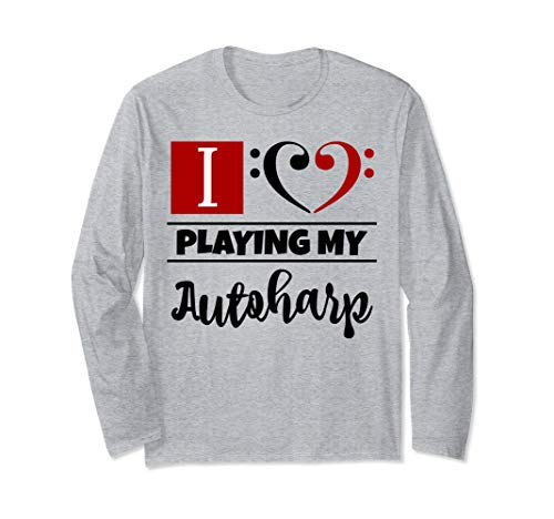 Double Black Red Bass Clef Heart I Love Playing My Autoharp Unisex Long Sleeve Shirt