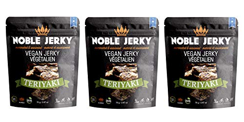 Spicy Mushrooms Garlic - Noble Jerky - 3 PACK Vegan Jerky Teriyaki Flavor | Protein Rich Plant Based Veggie Snacks | Meatless, Vegan and Vegetarian Friendly | Garlic and Ginger Seasoning | 100% Free from Beef | Non GMO