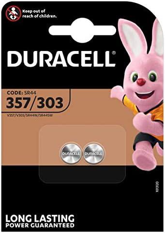 Duracell - Pilas especiales de óxido de plata 357/303 de 1.55V, paquete de 2 unidades (SR44/V357/V303/SR44W/SR44SW) diseñadas para su uso en relojes, calculadoras y dispositivos médicos