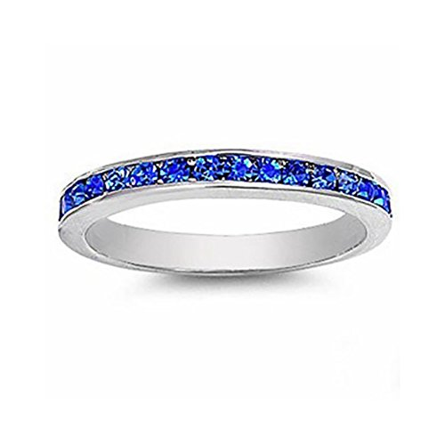 3mm Channel Set Full Eternity Wedding Band Ring Round Cubic Zirconia 925 Sterling Silver Choose Color