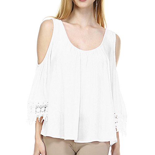 Fashionazzle Women's Shoulder Off Wide Hem 3/4 Sleeve Blouse Top