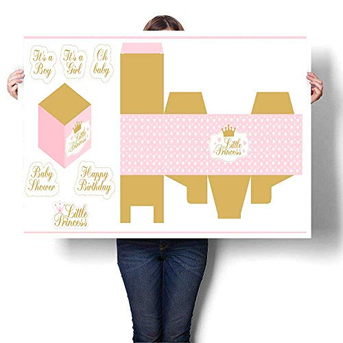 - Canvas Prints Wall Art Little Princess Party Printable Template (Baby Shower Birthday) Die Paper Box Print and Cut Decorative Fine Art Canvas Print Poster K 48