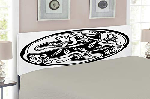 Lunarable Celtic Headboard for Full Size Bed, Three Dogs Biting Their Tails Animal Forms Vikings Heritage Celtic Knots Medallion, Upholstered Metal Headboard for Bedroom Decor, Black White