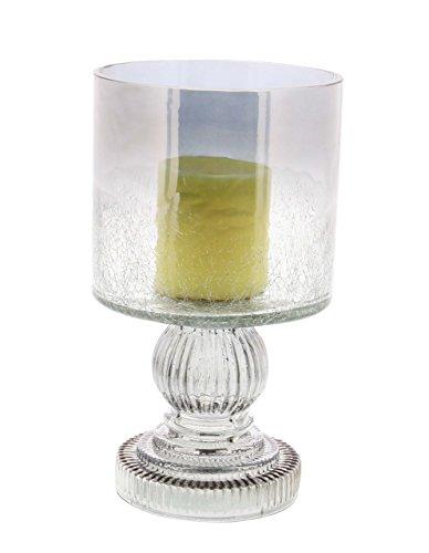 Deco 79 24683 Cylindrical Smoked Glass Hurricane Lamp, 10