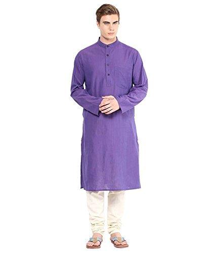 Royal Kurta Men's Summer Wear Fine Cotton Blended Straight Kurta 44 Purple