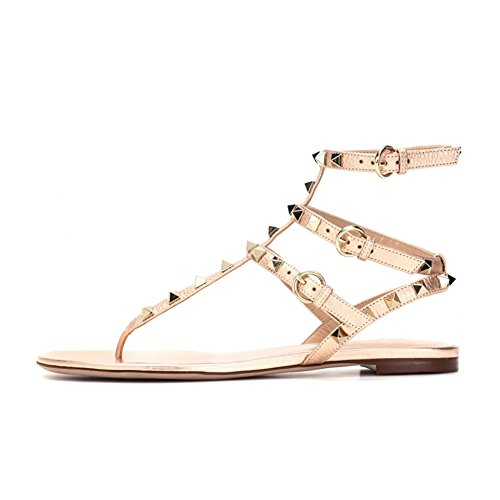 (VOCOSI Women's Rivets Studded Flats Shoes T-Strap Strappy Flats Thong Sandals Shoes Gold 9 US)