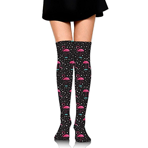 (XIKEWL Funky Women's Knee High Socks Pink Flamingos Sports Long Stockings For Party School Travel Outdoor Sports)