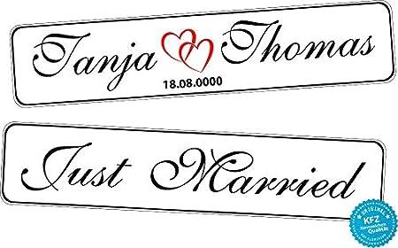 A Z Store Original Kfz Kennzeichen Hochzeit Autoschilder Hochzeitsschilder Namensschilder Just Married Mit Datum U Namen 0219 10 Auto