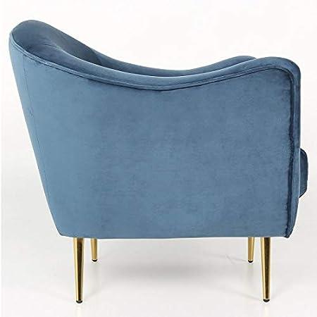 Paris Prix Fauteuil Design en Velours Dalila 84cm Bleu