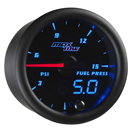 MaxTow Double Vision 15 PSI Fuel Pressure Gauge Kit - Includes Electronic Sensor - Black Gauge Face - Blue LED Illuminated Dial - Analog & Digital Readouts - 2-1/16