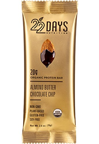 22 Days Nutrition Organic, Gluten Free, Vegan, Soy Free, Dairy Free, No Sugar Added, Real Food, High Fiber (11g), High Protein (20g),  Almond Butter Chocolate Chip Plant Based Protein Bars, 6 Count