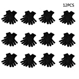 Horoshop 12 Pairs Winter Knitted Magic Gloves- One Size Fits All,Black