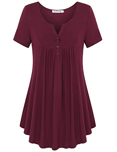 Lyking Women's Vintage Short Sleeve Henley V Neck Pleated Tunic Shirt (XL,Burgundy) (Sleeve Vintage Short Tunic)