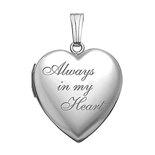 Always in My Heart Silver Heart Locket Pendant Necklace - 3/4 Inch X 3/4 Inch w / engraving