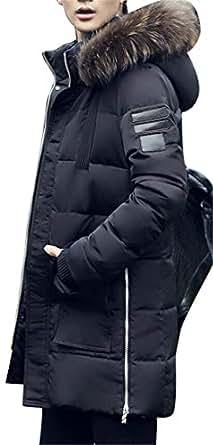 Pivaconis Men Winter Faux Fur Hooded Longline Warm Zip