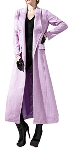 Allbebe Women's Elegant Winter Lapels Long Wool Cardigan Trench Coat L (Designer Trench Coat)