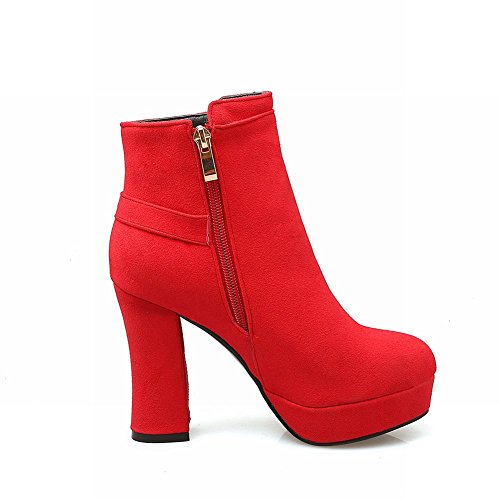 Latasa Womens Faux Suede High Heels Ankle Dress Boots Red H4FLIZUN