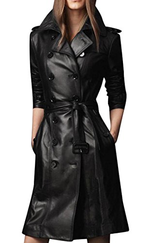 Long Black Ladies Leather Coat - 8