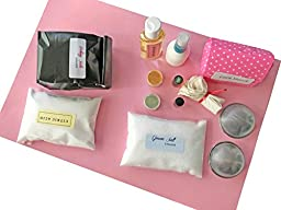 Bath Bomb Kit with Tea Tree and Eucalyptus Essential Oil- Complete Kit for DIY Large Size Scented Bath Fizzy Included Almond Oil, Natural Colorant, Metal Steel Molds.