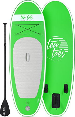 Ten Toes 8' Nano Inflatable Stand Up Paddle Board Bundle, Green - 2017 (Aluminum Toe Board)
