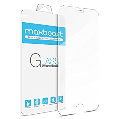 iPhone 6 Plus Screen Protector, Maxboost [Tempered Glass] 0.2mm Ballistic Glass Screen Protector Work with iPhone 6 Plus and Protective Case [Lifetime Warranty] from Maxboost
