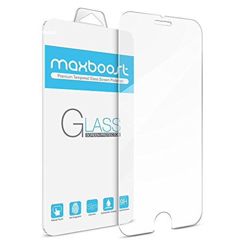 iPhone 6 Plus Screen Protector, Maxboost [Tempered Glass] 0.2mm Ballistic Glass Screen Protector Work with iPhone 6 Plus and Protective Case - Ultra Clear Glass