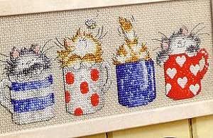 Gatos en tazas de punto de cruz Kits, 18 * 32 cm DMC hilo algodón kits de punto de cruz, diseño de gato