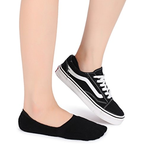 Eleray 5-Pack Women's Thick Cushion Cotton Casual Low Cut Falt Non-Slip No Show Liner Socks (Black) by eleray (Image #4)