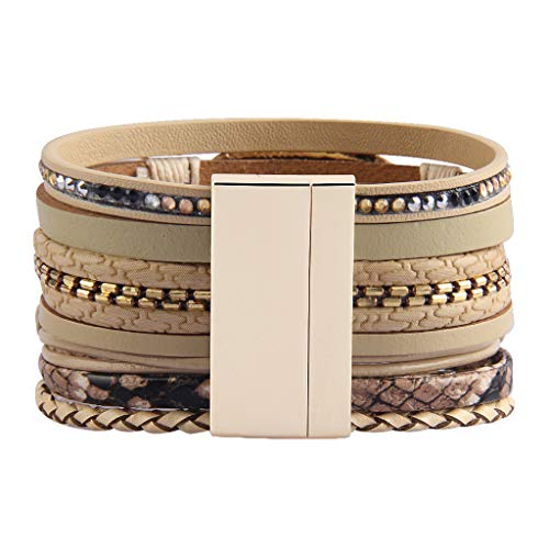 AZORA Womens Leather Cuff Bracelet Baroque Pearl Wrap Bracelets Gorgeous Gold Tube Bangle Handmade Wristbands Jewelry Bohemian Gift for Women Mother Teen Girls