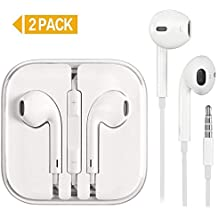 KEKH 2 Pack Earphones/Earbuds/Headphones Stereo Microphone&Remote Control IP 6/5/4 Pad Pod More Android Smartphones Compatible 3.5 mm Headphone -White (Earbuds) (White)