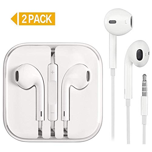 KEKH 2 Pack Earphones/Earbuds/Headphones Stereo Microphone&Remote Control IP 6/5/4 Pad Pod More Android Smartphones Compatible 3.5 mm Headphone -White … (Earbuds)