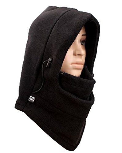 Cold Gear Hoodie-Double Layer Winter Windproof Bicycle Motorcycle Balaclava Hood Neck Winter Ski Full Face Mask Sports Cap - With Wide People Noses