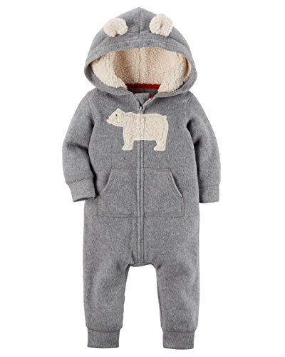 Carters Baby Boys Fleece Hooded Romper Jumpsuit, Grey Bear, 24 Months