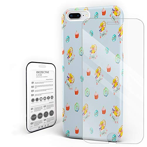 Compatible with iPhone 7 Plus, iPhone 8 Plus Case - Happy Valentine's Day 2.14 Cute Duck Cake Slim Fit Hard PC Shell Anti-Scratch Back Phone Cover [with Tempered Glass Screen Protector]