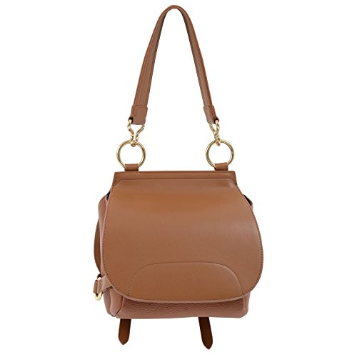 Shoulder Saddle Lotus Leather JAM Bag Strap Tote Ladies Fashion Chestnut Medium PU Faux Womens Closure Zip Size Handbag wUwq7E