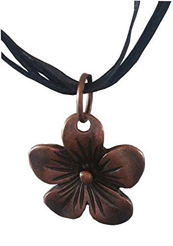 Lil' Miss Red Teen Costumes (Bronze Hawaiian Flower Pendant on a Black Ribbon Choker)