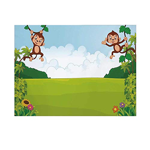 (Nursery Photography Background,Cute Playful Monkeys Hanging on Vines Young Kid Chimpanzees Summer Fun Decorative Backdrop for)