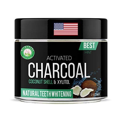 Best and Most Effective Activated Coconut Shell Black Charcoal Powder for Mouth and Gum Detox And for Pear White Teeth Whitening – Made in USA With Natural and Organic Ingredients (Fresh Mint)