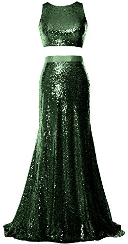 Dress Formal Gown Top MACloth Dunkelgrun 2 Evening Crop Mermaid Sequin Prom Party Piece Sp8IqwO