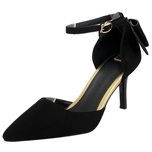 COOLCEPT Moda de Aguja de Tacon Tobillo con Correa Bowknot Negro Mujer Cerrado Sandalias Zapatos Trw51Tq