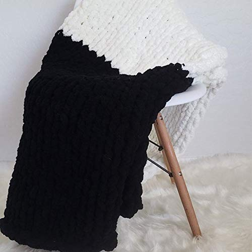 Giant Knit Chenille Blanket Throw Hand Knit Fluffy Blanket Black&CreamWhite Hand Knitted Blanket for Family Xmas Gift by FAU-Hand Knit Blanket (Image #4)