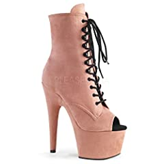 """ADORE-1021FS/BPFS/M features 7"""" (178mm) Heel, 2 3/4"""" (70mm) Platform Open Toe Lace-Up Front Ankle Boot Featuring Fully Wrapped Platform Bottom, Inside Zip Closure"""
