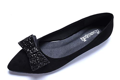Black Suede Bow - CANPPNY Comfortable Classic Flats Women's Shoes Bow Slip On Ballet Flats Black Dress Shoes