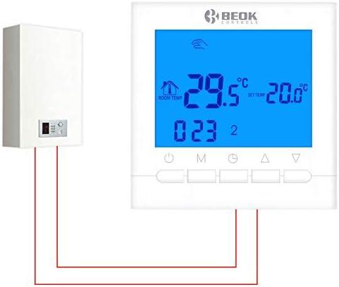 Beok BOT-313W.BL Wired Gas Boiler raumthermostat Programmierbare LCD Gas Kessel Raum thermostat Smart Temperature Controller Kontrolle AA Batterie Betrieben Blau Hintergrundbeleuchtung 1.5V