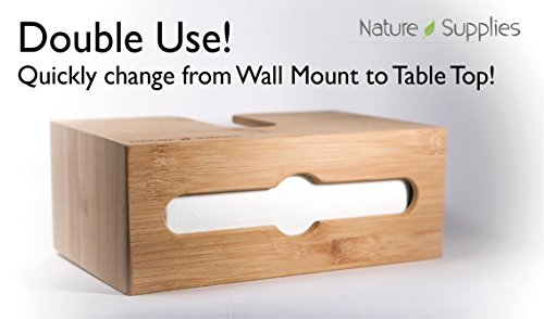 Nature Supplies Bamboo Paper Towel Dispenser For Bathroom and Kitchen - Wall Mount and Countertop Multifold Paper Towel, C-Fold, Zfold, Tri fold Hand Towel Holder Commercial by Nature Supplies (Image #3)