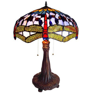 Chloe Lighting CH1049DB18-TL2 Tiffany-Style Dragonfly 2-Light Table Lamp with 18-Inch Shade