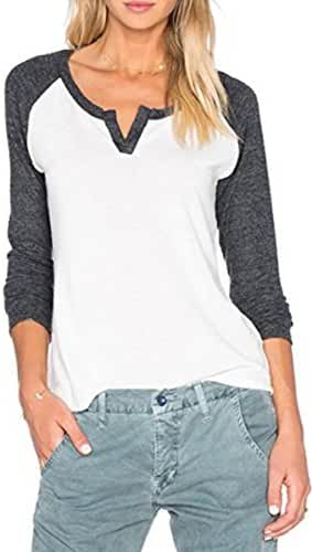 Fshop365 Women Casual Contrast V Neck 3 4 Sleeve Baseball Raglan Loose T-Shirts